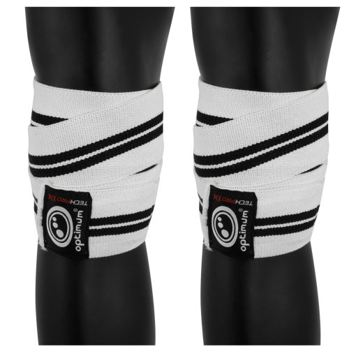 Optimum Techpro X14 Support Knee Wraps White/Black