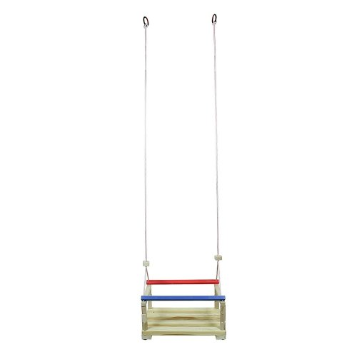 Obique Children's Wooden Toy Swing with Coloured Bars, Rope & Eyelet