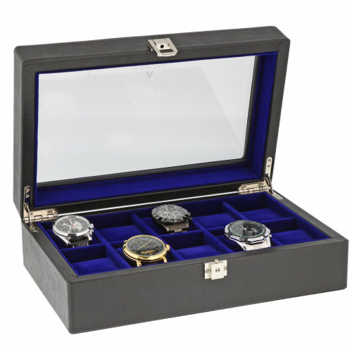 Black Genuine Leather Watch Box for 10 Wrist watches by Aevitas