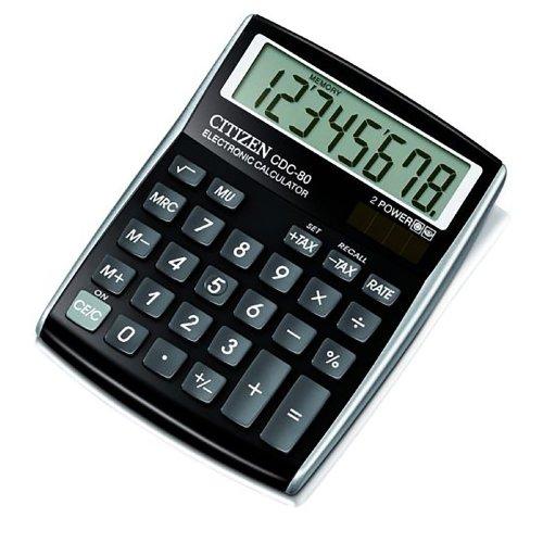 CITIZEN CDC80 Black Designline Calculator 8 Digit Solar Desktop Office Home