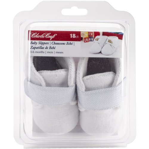 Charles Craft Baby Slippers Counted Cross Stitch Kit -18 Count Aida Straps