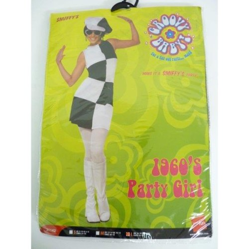 60's Black & White Large Party Girl Costume -  dress costume fancy girl party ladies 60s 1960s black white outfit swinging womens 70s go