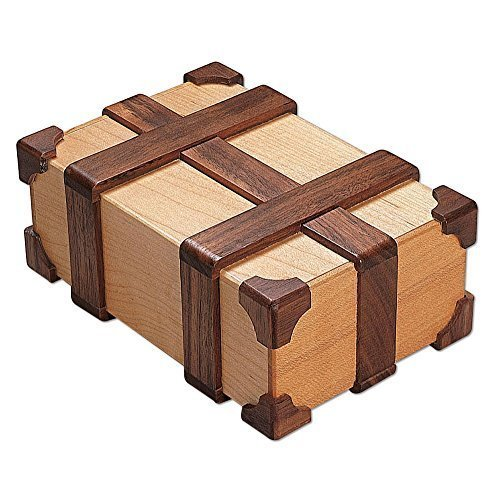 Bits And Pieces Kamei Treasure Chest Gift Box Brainteaser Puzzle Box Wooden Brain Teaser Crafted Of Maple And Walnut Woods Measures 6 X 2 12 X 4