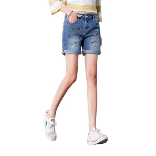 High-quality Jeans Shorts Exquisite Embroidery High Waist Shorts, F