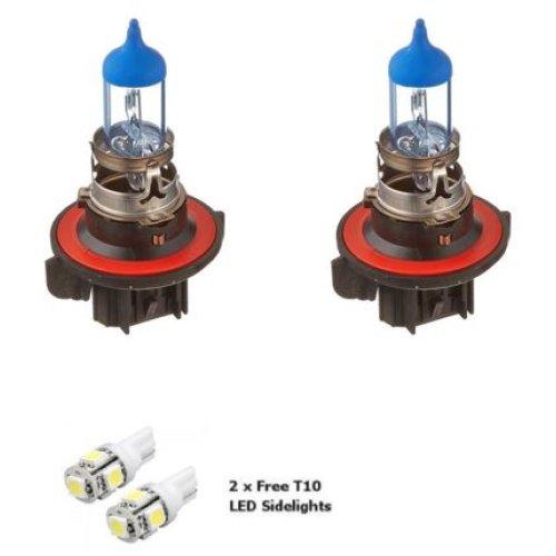 2x H13 9008 55w Super White Xenon Headlight Bulbs 12v