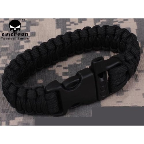 Airsoft  Paracord Bracelet Wristband Camping Fishing Survivival Black