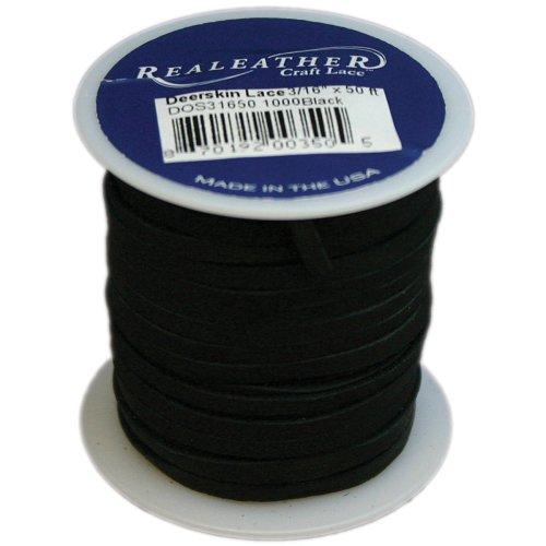 "Realeather Crafts Deerskin Lace .125""X50' Spool-Black"