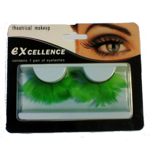Eyelashes Feather Jumbo Reusable Fake False Eye Lashes Drag Queen - Green