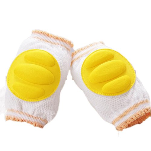 Set of 2 Cotton Mesh  Baby Leg Warmers Knee Pads/Protect-Horizontal, Yellow