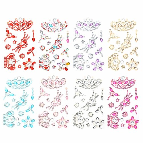 Hifot Self-Adhesive Craft Jewels 8 Sheets, Self-Adhesive Rhinestone Sticker Colorful Gems Sticker Craft Jewels Set for Children, Stick-on Crystal...