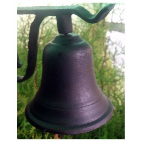 Large Cast iron door bell ringer with leather strap