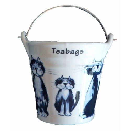 Cats (Blue Cats) Bucket Teabag Tidy, Porcelain Bucket Teabag Tidy