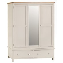 Portland Stone Painted Oak Triple Wardrobe