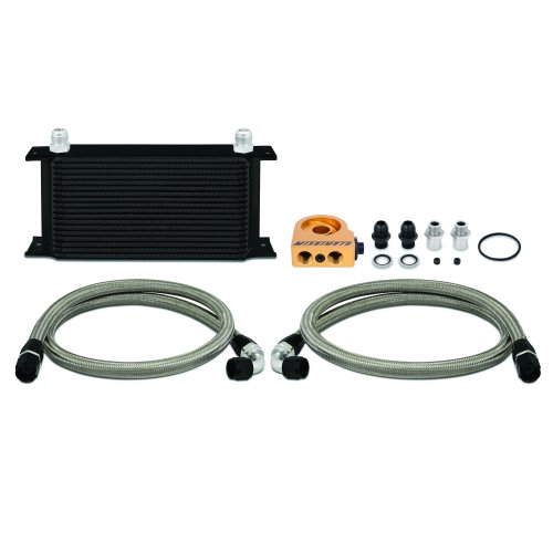 Mishimoto MMOC-ULTBK Universal Oil Cooler Kit, 19-Row, Black Thermostatic