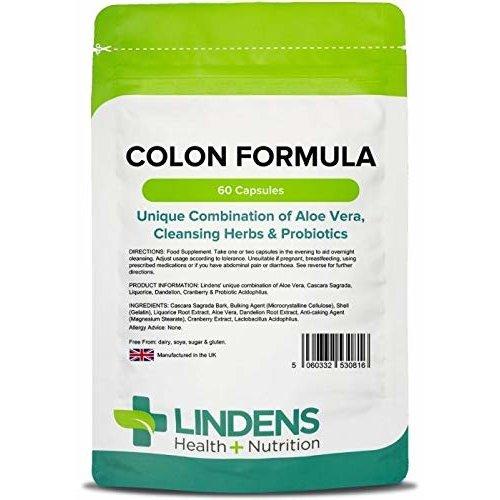 Lindens Colon Formula Capsules   60 Pack   Unique combination of Aloe Vera, Cascara Sagrada, Liquorice, Dandelion, Cranberry & Probiotic...