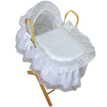Broderie Anglaise Dolls Moses Basket With Stand Sparkle White