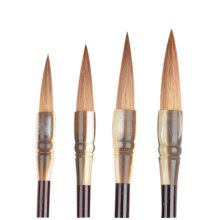 4 Pieces Professional Calligraphy Drawing Brush/Wolf Hair Brush, Coffee