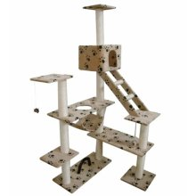 Cat Play Tree 184 cm Beige with Paw Print