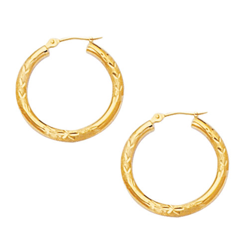 10k Yellow Gold Diamond Cut Design Round Shape Hoop Earrings Diameter 20mm On