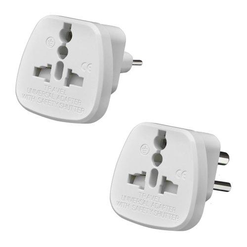 AMOS Universal UK USA EU to 2/3 Pin India Pakistan Travel Plug Adaptor Adapter