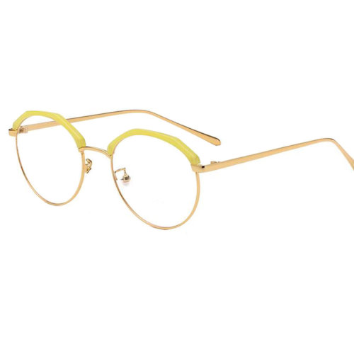 Personality Polygon Flat Glasses Retro Decorative Glasses Frames -Yellow
