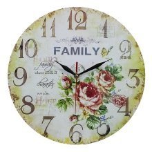 Obique Home Decoration Family and Roses Scene MDF Wall Clock 34cm