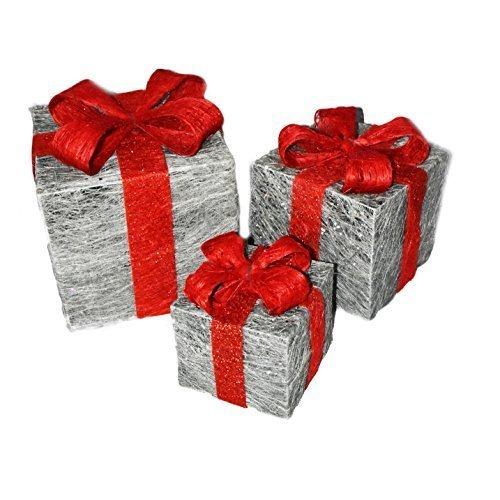 Set Of 3 Decorative Pre-lit LED Christmas Gift Boxes Festive Xmas Decoration - -  set 3 prelit led christmas gift boxes festive xmas decoration