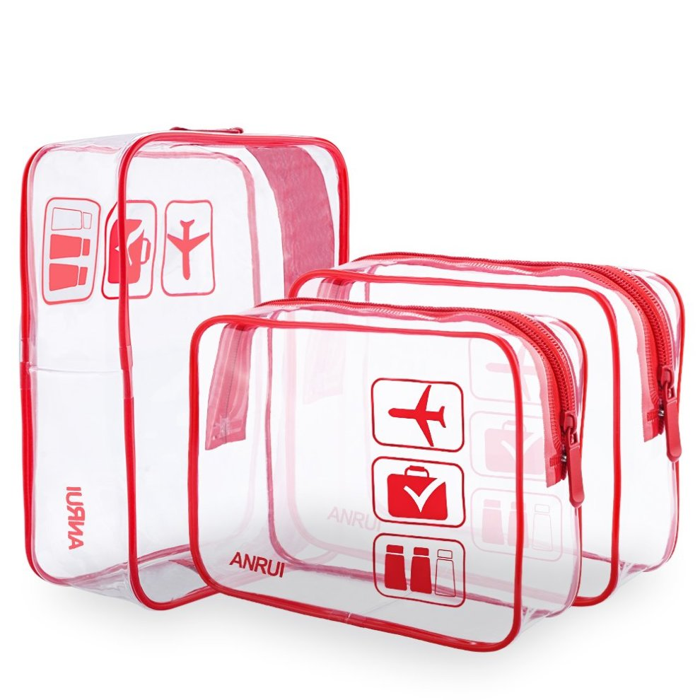 6cf04f43d075 3pcs/Pack ANRUI Clear Toiletry Bag Travel Luggage Pouch Makeup Bags  Cosmetic Bag Organizer for Women Men Kids (Red)