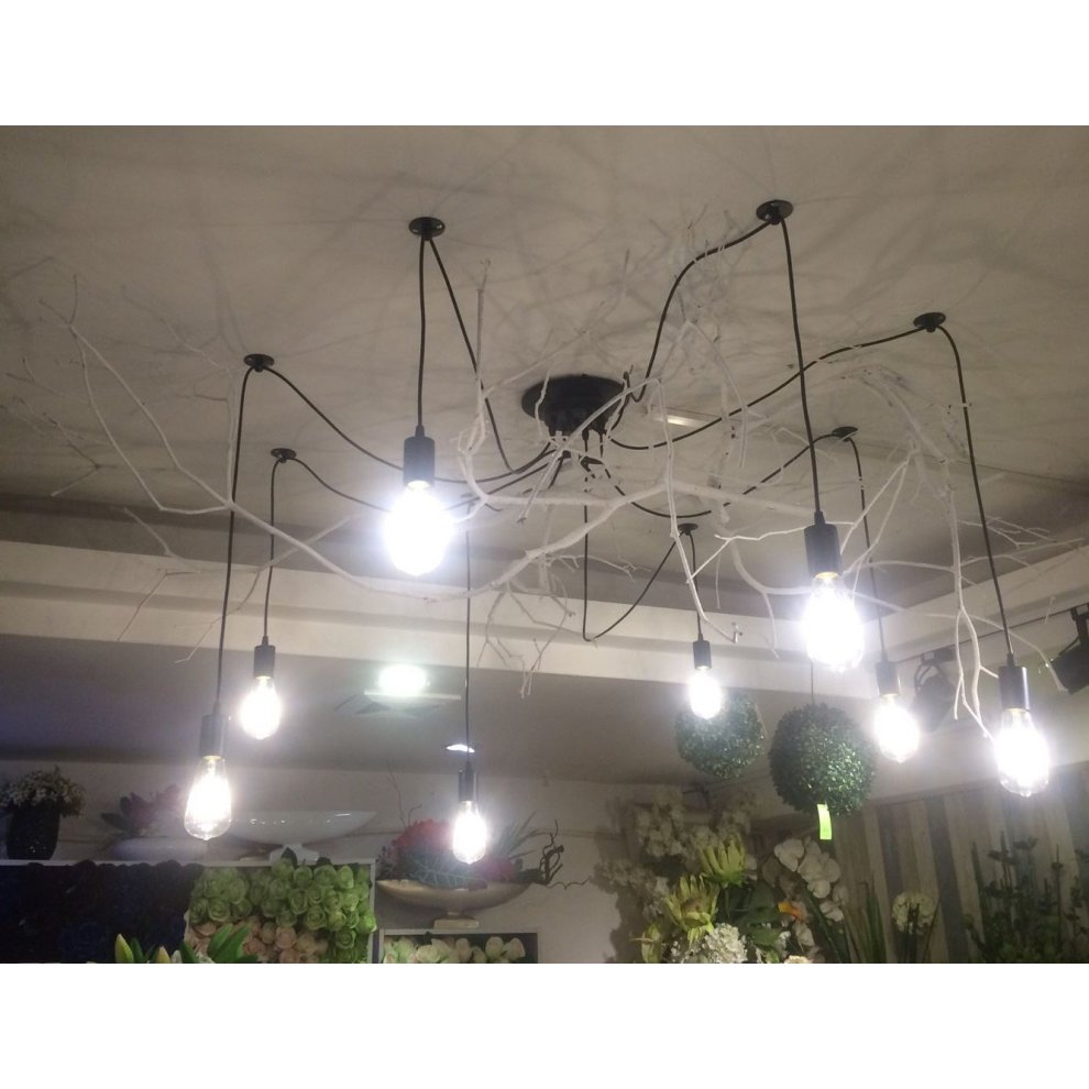 Onever e27 loft antique chandelier modern chic industrial dining light ajustable diy ceiling spider light pendant lamp with 8 light heads adapter