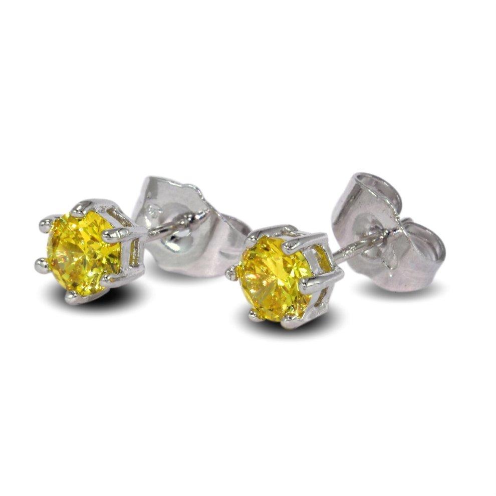 8bf6a7bf8b3d87 ... Blue Diamond Club - 9ct White Gold Filled Daffodil Yellow Stud Earrings  5mm Girls Womens -