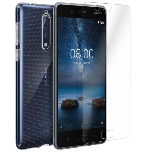 huge discount d74b1 7ec5d Back case + Screen Protector Tempered Glass Clear Nokia 8