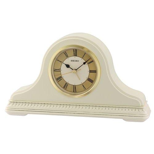Seiko QXE017C Wooden Mantel Clock - Cream