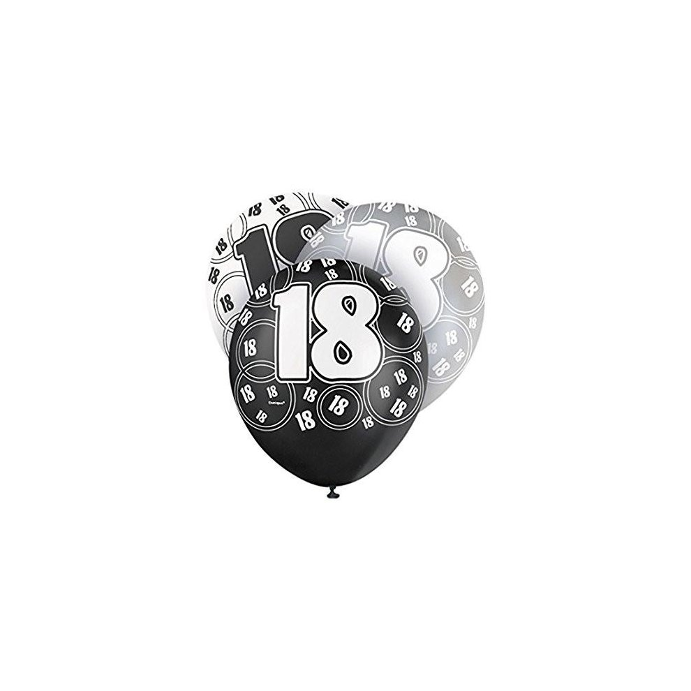 Age 18 Birthday Balloons Black Glitz