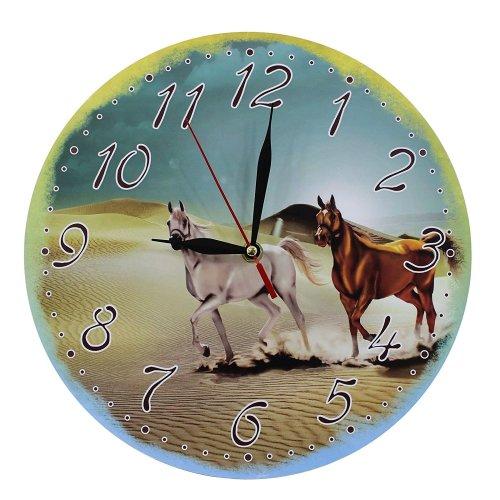 Obique Home Decoration Wild Horses in Desert Scene 28cm MDF Wall Clock