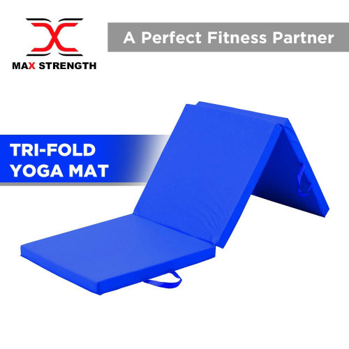 Blue Yoga Gymnastics Tri Folding Mat Gym Exercise Fitness Pilate Foam