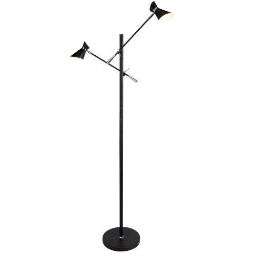 2 Light LED Floor Lamp Matt Black And Chrome