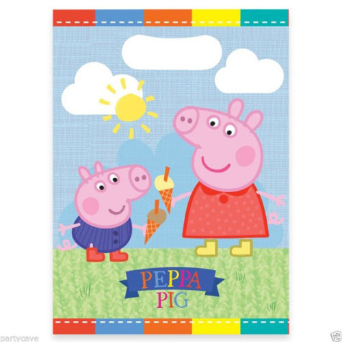 Gemma 8 Peppa Pig Plastic Lootbags - Party Loot Bags Carnival Pack Matching -  peppa pig party loot bags 8 carnival pack plastic matching items my