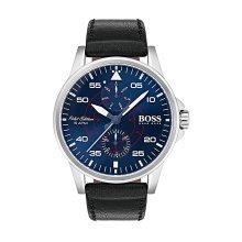 Hugo Boss 1513515  Men's Black Leather Strap Blue Dial Watch