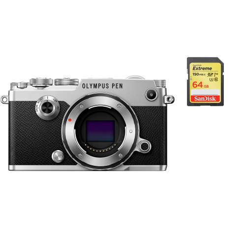 OLYMPUS PEN-F Body Silver + SanDisk Extreme 64G SD card