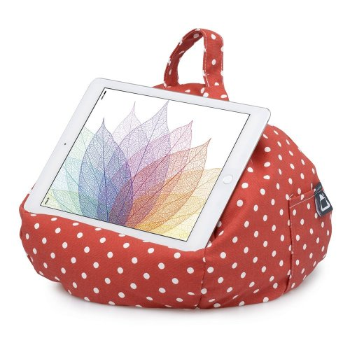iBeani iPad & Tablet Stand/Bean Bag Cushion Holder for All Devices/Any Angle on Any Surface - Polka Dot Red & White