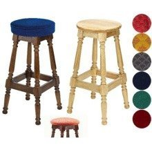 Tamara Wood Bar Stool - Padded / Unpadded Burgundy Fabric Button Seat Light Oak