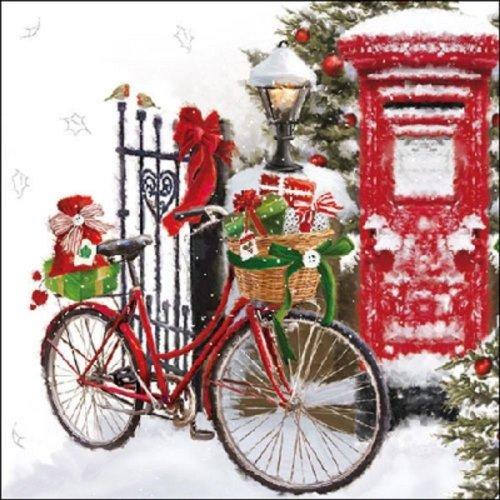 4 x Paper Napkins - Bike in Snow  - Ideal for Decoupage / Napkin Art