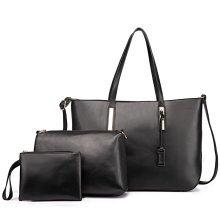 Miss Lulu Big Shoulder Handbag + Cross Body Bag + Purse 3 Pieces