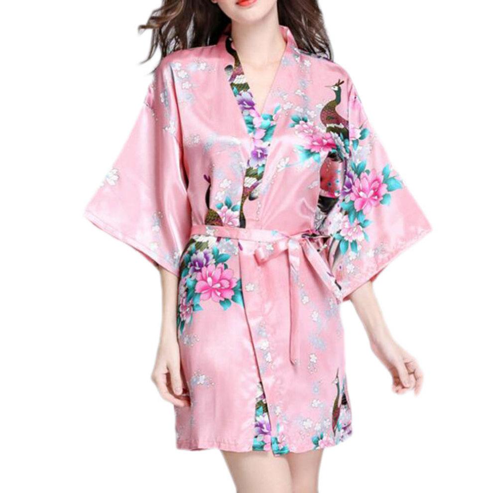 Charming Women Bathrobe Blossoms Peacock Kimono Silk Robes Gown-Coral Red  ... 87227ba41