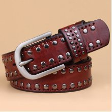 Women Rivet Punk Style Cowhide Leather Belts Casual Vintage Pin Buckle Wide Waistband