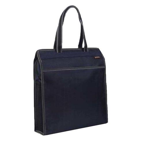 Portable Document Bag Zipper Bag Multi-layered Data Bag Briefcase, Dark Blue