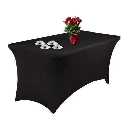 Spandex Table Cover Stretch Tablecloth 6ft Rectangular Fitted Wedding Banquet Trestle Table Black (183CM)