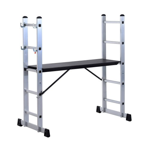 Homcom Aluminium Scaffolding Ladder | Multi-Purpose Step Platform