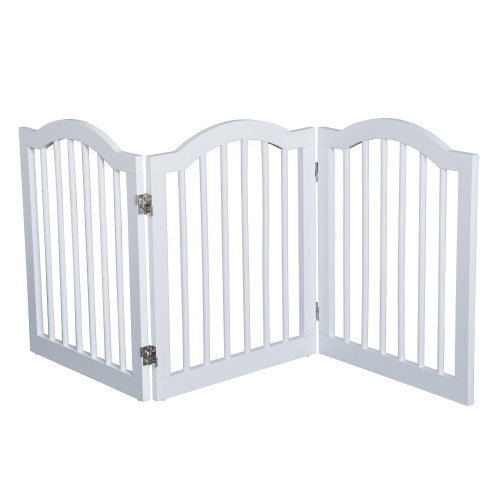 PawHut Wooden Dog Gate Stepover Panel Pet Fence Folding Safety Barrier (White)