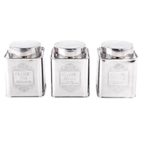 Square Vintage Retro Aluminium Tea Coffee Sugar Kitchen Storage Canisters Jars